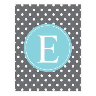 Monogramme gris de bleu de point de polka cartes postales