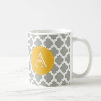 Monogramme gris et blanc de jaune de moutarde de mug