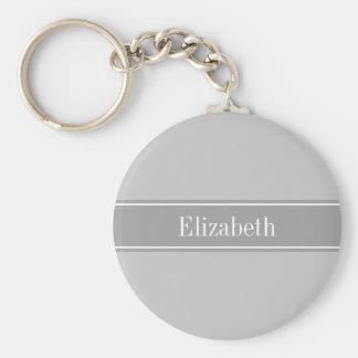 Monogramme gris et gris-foncé solide de nom de porte-clé rond