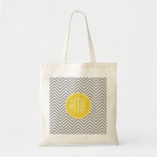 Monogramme gris et jaune de coutume de chevrons sac en toile