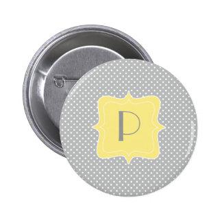 Monogramme gris et jaune de point de polka badge