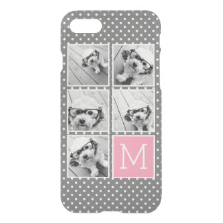 Monogramme gris et rose de collage de photo coque iPhone 7
