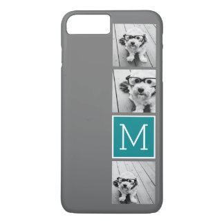 Monogramme gris et turquoise de collage de photo coque iPhone 7 plus