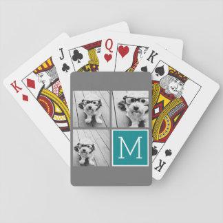 Monogramme gris et turquoise de collage de photo jeux de cartes