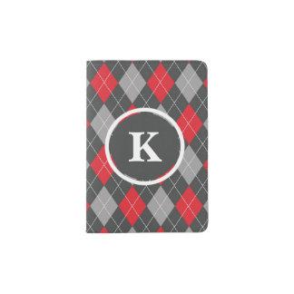 Monogramme, gris rouge de motif à motifs de protège-passeport