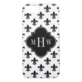 Monogramme initial de Black Fleur de Lis Black 3 Coque iPhone 7