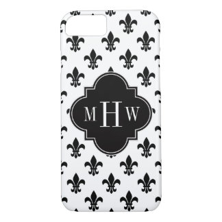 Monogramme initial de Black Fleur de Lis Black 3 Coque iPhone 8/7