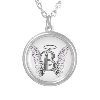 Monogramme initial de la lettre B avec des ailes e Pendentif Rond
