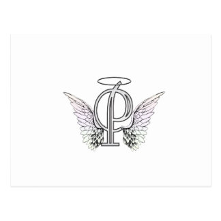 Monogramme initial de la lettre P avec des ailes Cartes Postales