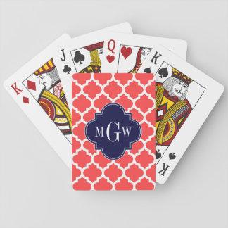 Monogramme initial de la marine 3 blancs rouges de cartes à jouer