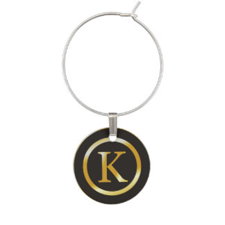 Monogramme initial d'or de K Marque-verres
