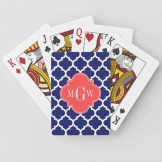Monogramme initial du rouge 3 de corail blancs du jeu de cartes