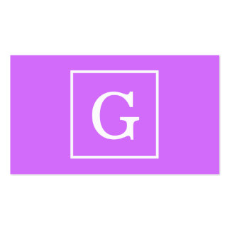 Monogramme initial encadré par blanc pourpre lilas carte de visite standard