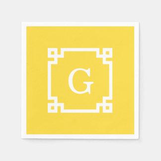 Monogramme initial principal grec blanc du cadre serviette jetable
