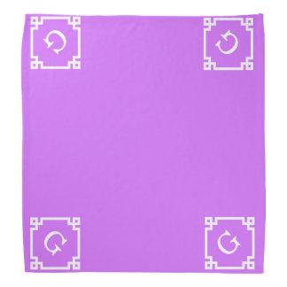 Monogramme initial principal grec blanc lilas du foulard