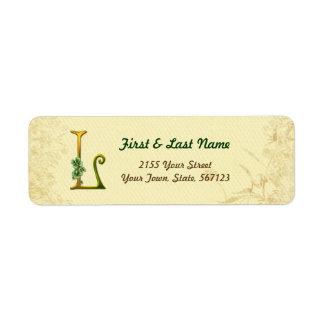 Monogramme irlandais L étiquette d'or