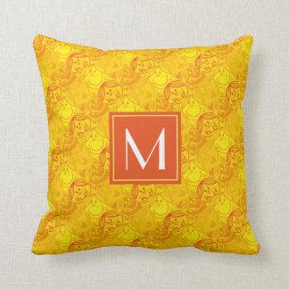 Monogramme jaune ensoleillé du motif   coussins carrés
