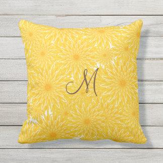 Monogramme jaune ensoleillé gai de motif de oreillers