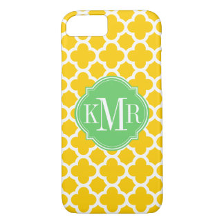 Monogramme jaune et blanc de Quatrefoil de motif Coque iPhone 7
