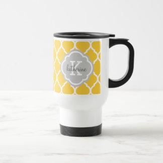 Monogramme jaune et gris de Quatrefoil de Marocain Mug De Voyage