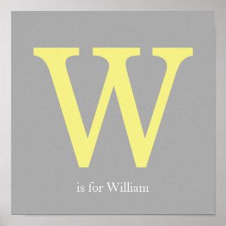 Monogramme jaune et gris posters