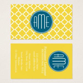 Monogramme jaune et turquoise de coutume de motif cartes de visite