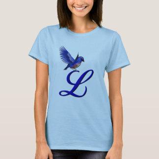 Monogramme L initial T-shirt élégant d'oiseau bleu