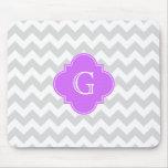 Monogramme lilas blanc gris de lt Chevron Quatrefo Tapis De Souris
