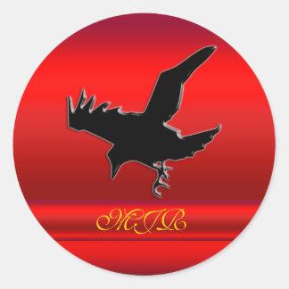 Monogramme, logo noir de Raven sur le chrome-effet Sticker Rond