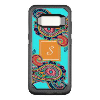 Monogramme lumineux de Paisley d'Aqua Coque Samsung Galaxy S8 Par OtterBox Commuter