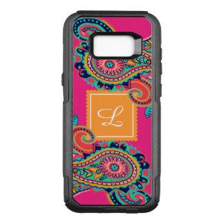 Monogramme lumineux de Paisley de rose Coque Samsung Galaxy S8+ Par OtterBox Commuter