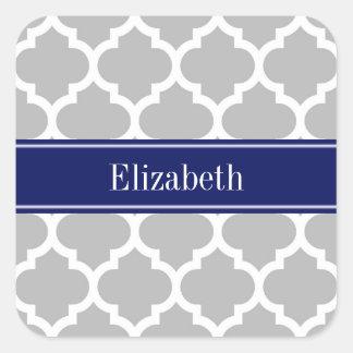 Monogramme marocain de nom de bleu marine #5 de sticker carré