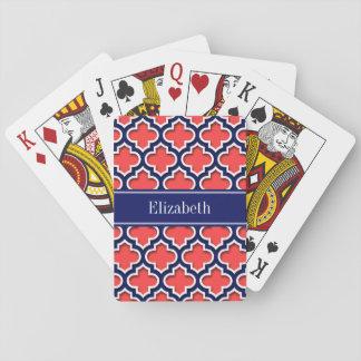 Monogramme marocain rouge de corail de nom de jeu de cartes