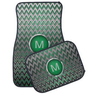 Monogramme métallique argenté vert et de brosse de tapis de sol