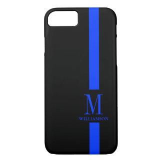 Monogramme mince de coutume de Blue Line Coque iPhone 7