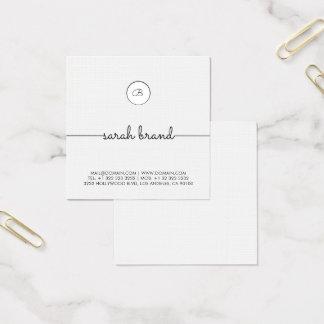 Monogramme minimaliste chic carte de visite carré