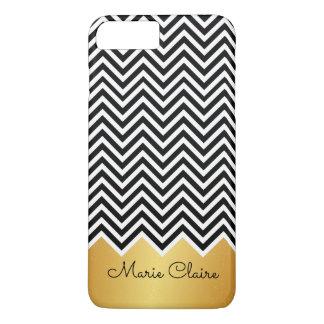 Monogramme moderne de coutume de Chevron d'OR de Coque iPhone 7 Plus