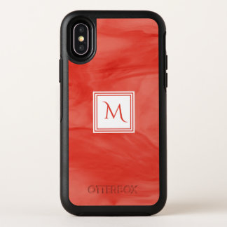 Monogramme moderne de marbre subtil orange rouge
