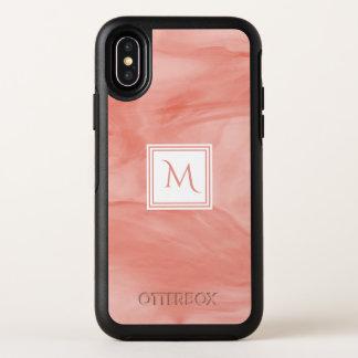 Monogramme moderne de marbre subtil rose de corail