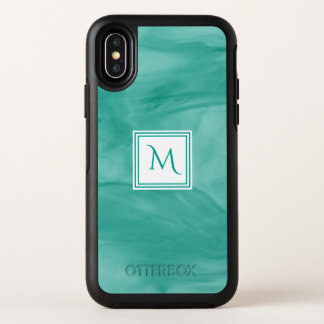 Monogramme moderne de marbre subtil vert turquoise