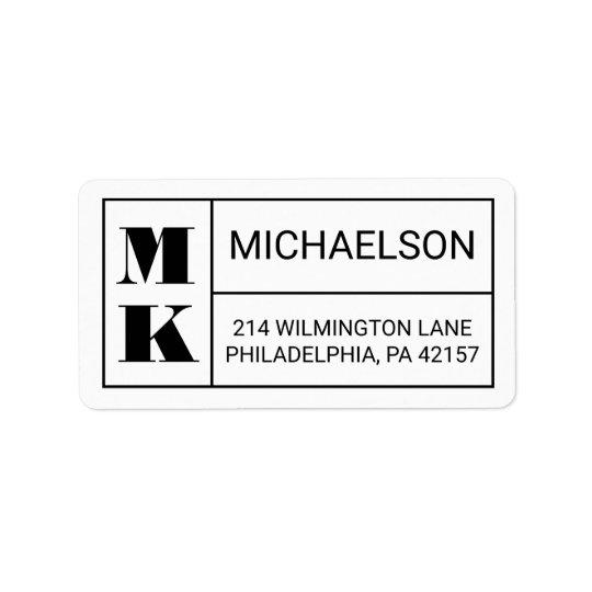 Monogramme moderne étiquettes d'adresse