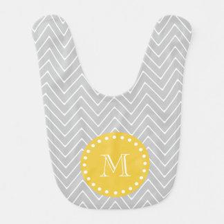 Monogramme moderne gris et jaune de coutume de bavoirs pour bébé