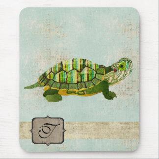 Monogramme Mousepad de tortue de jade Tapis De Souris