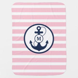 Monogramme nautique d'ancre couverture de bébé