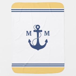 Monogramme nautique d'ancre couvertures de bébé