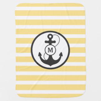 Monogramme nautique d'ancre couvertures pour bébé