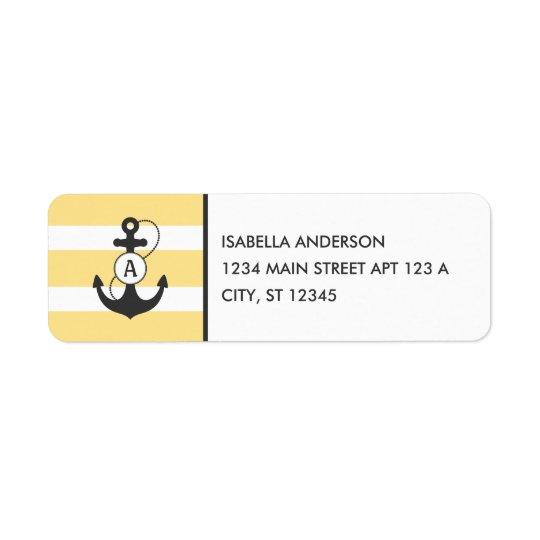 Monogramme nautique d'ancre étiquettes d'adresse retour