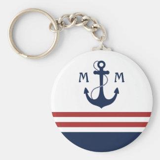 Monogramme nautique porte-clé rond