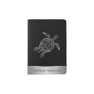 Monogramme noir argenté de tortues de mer protège-passeports