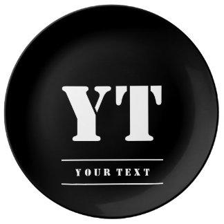 Monogramme noir classique simple assiettes en porcelaine